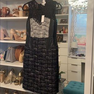 Milly Black and White Leather Lace Tweed Dress